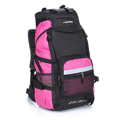 SHIYUPING Camping Backpack Mountaineering Backpack Waterproof Nylon Multipurpose Travel By Walking Wild Camping Leisure Sport Neutral Shoulders Suitable for Outdoor Use (Color : Pink)