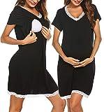 Ekouaer Maternity Nursing Gown Delivery Nightshirt Hospital Breastfeeding Dress Black