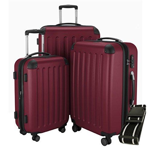 Hauptstadtkoffer - Spree - 3er-Koffer-Set Trolley-Set Rollkoffer Reisekoffer-Set Erweiterbar, TSA, 4 Rollen, (S, M & L), Burgund +Gepäckgurt