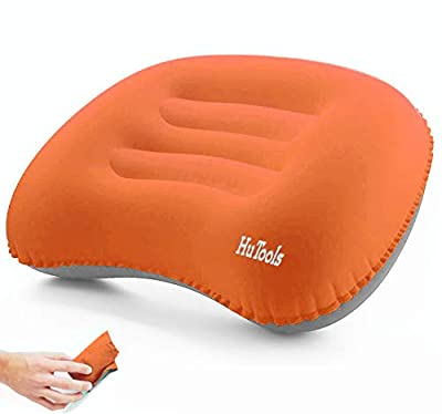 HuTools Inflatable Camping Pillow Backpacking Pillow Lightweight Compressible Travel Air Pillow Ultralight Ergonomic Pillow Portable for Camping with Neck & Lumbar Support ?Orange?