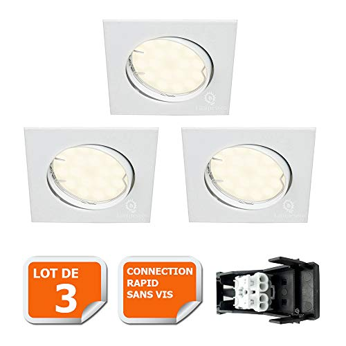 LOT DE 3 SPOT ENCASTRABLE ORIENTABLE CARRE LED SMD GU10 230V BLANC RENDU ENVIRON 50W HALOGENE