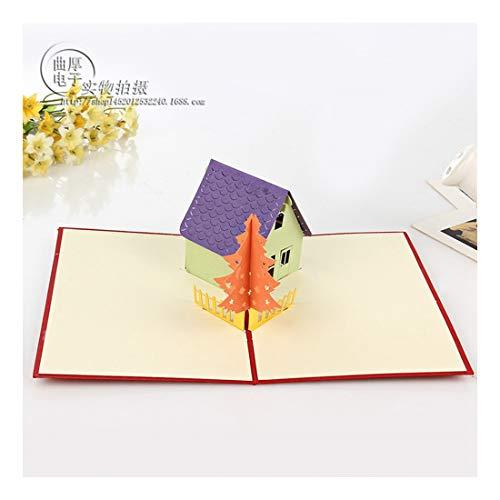 ZHOUBIN 2 fogli/set Cartolina d'auguri creativa tridimensionale/tridimensionale cottage/albero di natale/regalo di natale di Capodanno