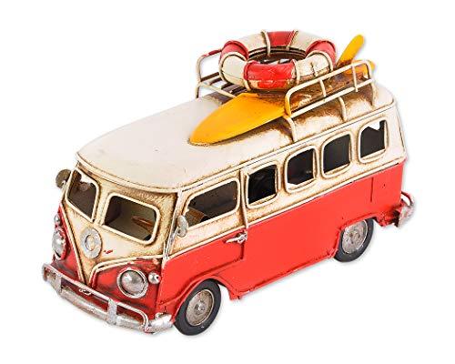 SCSpecial Toy Camper Van 6.3 Pulgadas Estilo Retro Metal Clásico T1 Camper Van Beach Bus Modelo de Juguete - Rojo