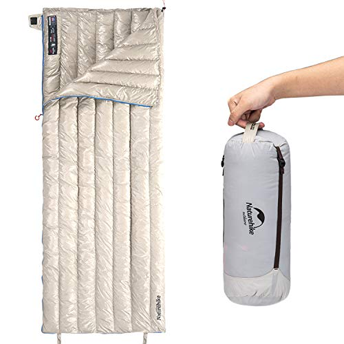 Naturehike2020年版 高級ダウン 封筒型 寝袋 超軽量 オールシーズン 防水 2人用に連結可能 圧縮袋+メッシュ収納袋付 (カーキ)