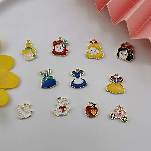 HGFJG 20Pcs/Lot Cartoon Princess Dress Pumpkin Car Enamel Charms Pendants Handmade Craft Metal Charms For Diy