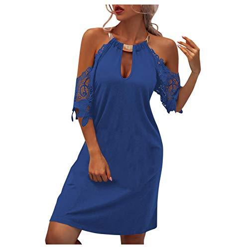 Vestido para mujer con sujeción al cuello, corto, largo hasta la rodilla, cintura alta, sin mangas, sexy, vestido de verano, estilo boho, para el tiempo libre, cuello redondo, #1_azul, L