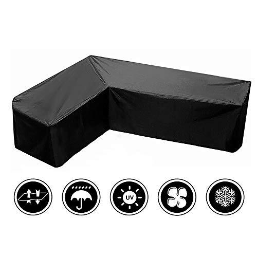 Muka Funda de sofá seccional en forma de V, resistente al agua, para muebles de patio, protector de sofá de jardín, tela duradera, resistente al viento, color negro, 299,7 x 299,7 x 98,7 x 78,7 cm.