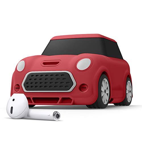 elago Mini Car Coche Funda AirPods con Mosquetón Diseñado para AirPods 2 & 1 - Faros y Luz Trasera Brillan en la Oscuridad (Rojo)