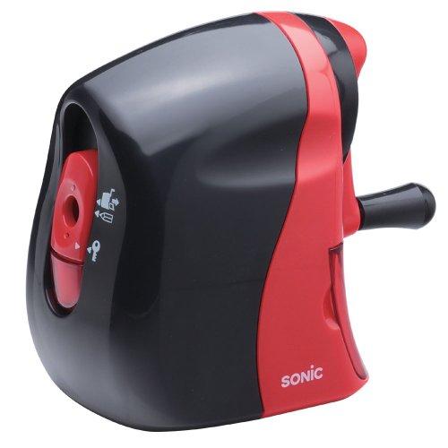 ソニック 鉛筆削り 手動鉛筆削り かるハーフ 黒赤 SK-802-R