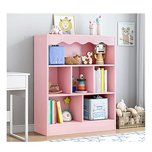 jiji Librería Estantería estantería para niños Estante Simple estantería Organizador sólido Madera Color Estudiante Juguete Almacenamiento Estante pequeño librero Librero (Color : Pink)