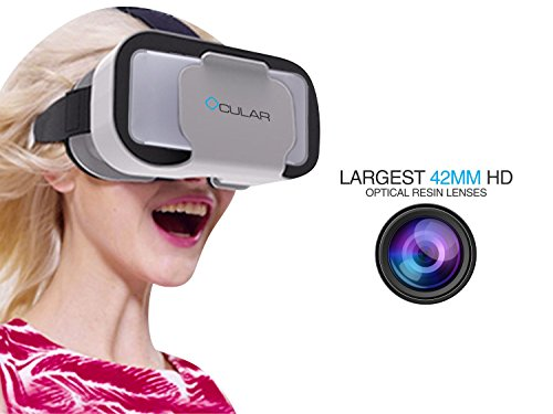 """Ocular Swift Virtual Reality Glasses – Fully Adjustable VR Headset with 42 MM Lenses & Compatible with 4.5""""-6"""" Smartphones"""