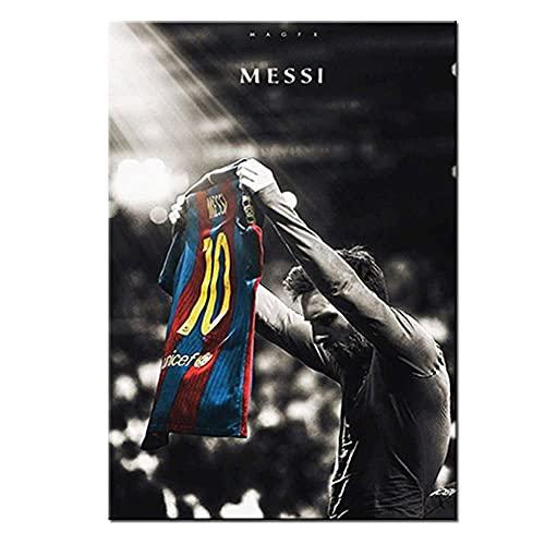 Póster de Messi de Estrella de Fútbol Pintura en Lienzo Cuadro Artístico Para Pared de Habitación Decoración Del Hogar (30X40cm sin marco, MX02)