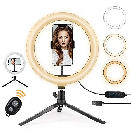 Luce Tik Tok LED Anello Treppiedi,Ring Light con Telecomando Bluetooth per Smartphone,Foto,Youtube,Trucco,Lampada Anulare Regolabile con 3 Modalita` di Illuminazione e 10 Livelli di Luminosità