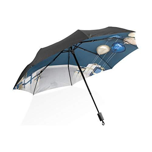 Globos Dorados Negro Portátil Ligero Compacto Paraguas Plegable Antivibración Protección Impermeable Soleado Prueba Viento Costilla Impermeable Aire Libre Mujeres Hombres