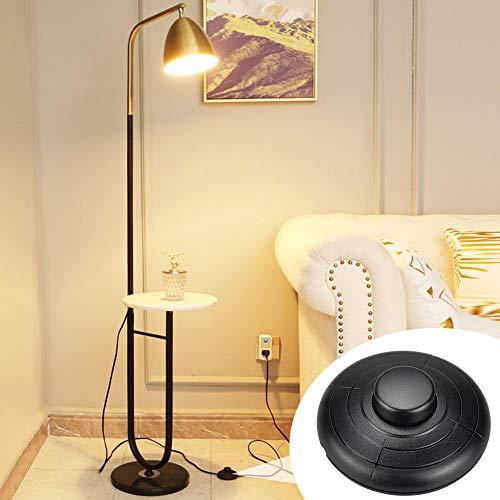 UTRUGAN 2 Stück Fußschalter Rund Fußtretschalter 250V/2A Tretzwischenschalter Schwarz Rundkabel Fußschalter für Stehlampen, Kindertischlampen, Küchenschranklampen oder andere Lampen