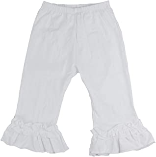 Wennikids Baby Toddler Girl's Cotton Ruffle Capris Pants Cropped Pants 1T-8T