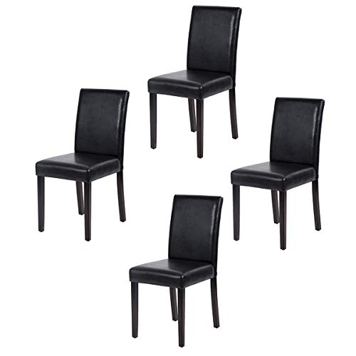FDW Parsons Set of 4 Dining Side Chairs for Home Kitchen Living Room, 4, Leather Black