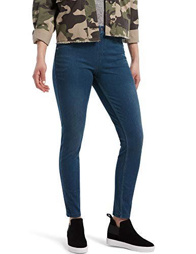 HUE Women's Ultra Soft High Waist Denim Leggings, Steely Blue Wash, X-Large
