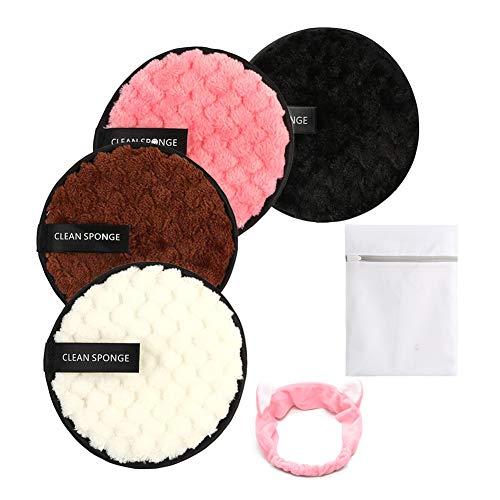 Coton Demaquillant Lavable, Lingettes Demaquillantes Double Face pour Les Soins du Visage et de La Peau, Eponge Demaquillante en Microfibres avec Sac à Linge et Bandeau (4 Pcs)