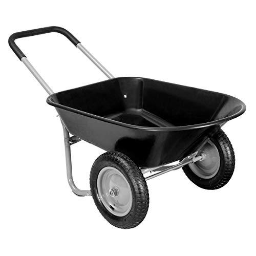 Giantex 2 Tire Wheelbarrow Yard Garden Cart Heavy Duty Landscape Wagon