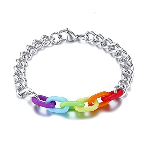 Heren armband Regenboog Ketting Armbanden Voor Vrouwen Man RVS Link Pols 8.07 Inch Sieraden