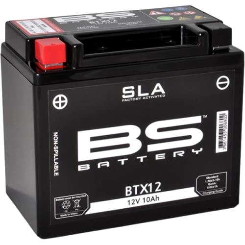 Batería moto BS SLA BTX12 (YTX12-BS) AGM - Sin mantenimiento - 12 V 10 Ah - Dimensiones: 150 x 87 x 130 mm compatible con Polaris Outlaw MXR 450 2008-2010