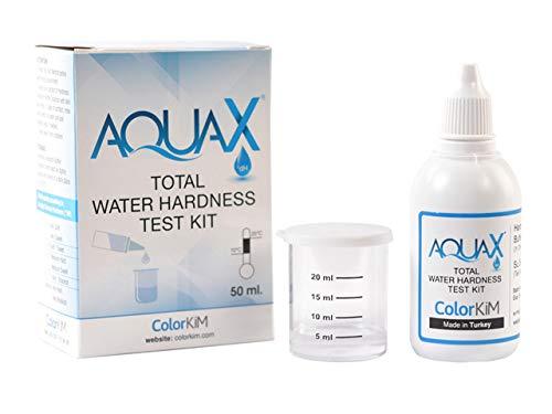 AQUA X Wasserhärte Testset 50 ml I Härtebestimmung für Trinkwasser, Brunnenwasser/Grundwasser und Schwimmbad I inkl. Messbecher