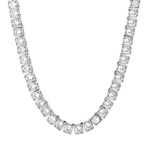 Richsteel Ice Out Tennis Chain 4mm Breit 46cm lang Platin Halskette mit 86 Zirkonia Bling Schmuck für Damen an jeden Alter