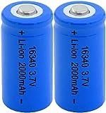 2 Piezas 16340 2000 Mah 3.7V Batería Recargable De Iones De Litio para Linterna Led, Banco De Energía, Micrófono, Radio, Faro