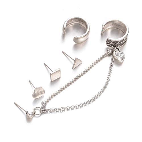 5 Pezzi/Set Punk Cool Ear Clip Catena Ear Stud Triangolo Geometrico Orecchini a Forma di Cuore Orecchini a Forma di Cuore Ear Clip Gioielli Punk