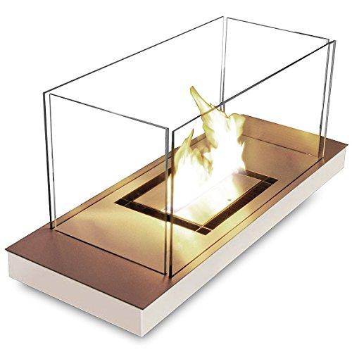 Uni Flame weiß 1,7 l glanzpolierter Edelstahl Ethanol-Kamin 544 J