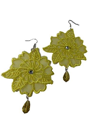 Handgemachte Ohrringe Ohrhänger Hänger Makramee Spitze - Handarbeit - Steine Straß Blume Rose Blüte gelb 3340