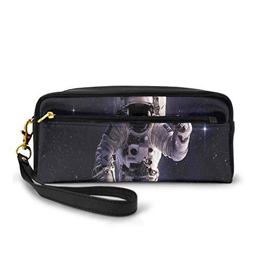 Borsa piccola per il trucco, astronauta nello spazio esterno Stardust Nebulosa in Via Lattea Cosmonaut Apollo Art,borsa per cosmetici da viaggio in pelle PU con cerniera e astuccio per matite