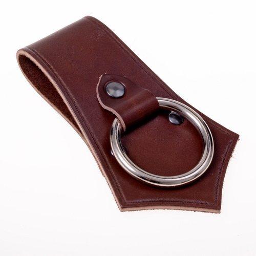 Pera Peris Axthalter in formschönem Design - Gürtel-Halter mit Ring aus solidem Rindsleder Farbe braun