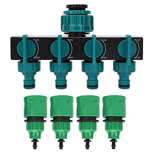 Nikou Faucet Splitter-DN20 DN25 FNPT Distribuidor de Grifo de Manguera de jardín de 4 vías con Accesorios de riego de Acoplamiento rápido de 1/4 Pulgadas