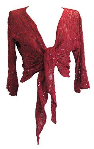 DangerousFX Rot (Sequin Bolero) glitzernde Spitzenbolero. Gr.42/44