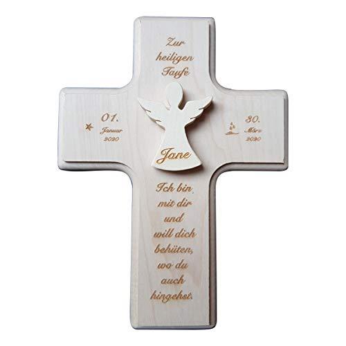 Gravurenalarm Holzkreuz - Taufkreuz - Ahornkreuz - Wandkreuz - mit aufgesetztem Engel