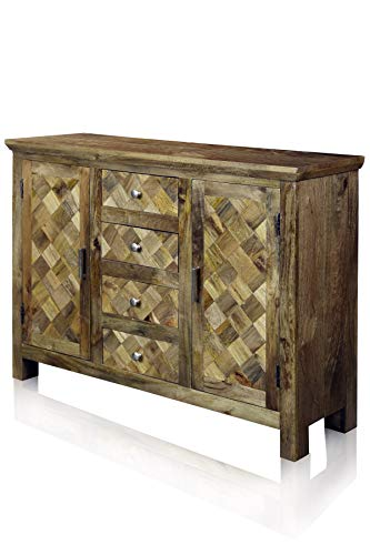 Collective Design Transitional Two-Door Four-Drawer Diagonal Parquets Wood Natural Honey Finish Sideboard