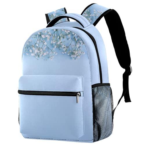 Mochila blanca para bebé, diseño de flores en el fondo azul cielo, mochila de viaje informal para mujeres, adolescentes y niñas