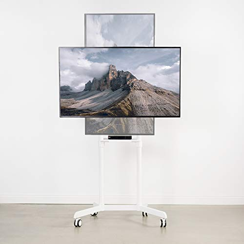 VIVO Mobile Premium TV Cart for 37 to 70 inch Flat Screens, Samsung Digital Flipchart, Microsoft Surface Hub 2S, Luxury Portrait to Landscape TV Display Stand with Wheels, White STAND-TV02PW Photo #8