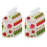 Quetschies Wiederverwendbar 10er Pack mit 130 ml Quetschbeutel Wiederverwendbar und E-Book mit Rezepten