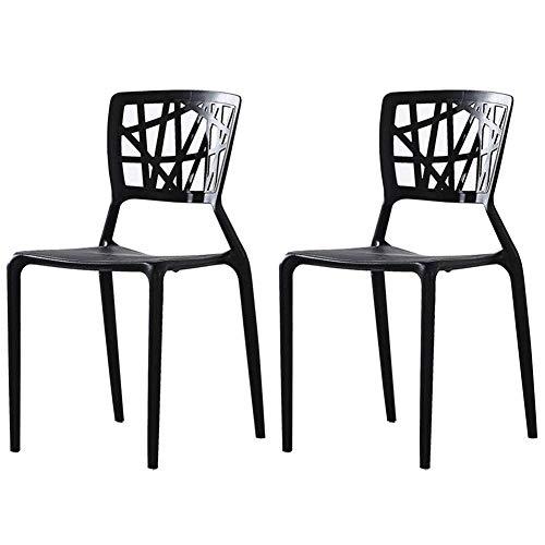 AGGF Juego de sillas de Comedor de 2 sillas de Mesa de Respaldo apilables de Estilo nórdico Silla de café de Ocio de plástico Silla de recepción (Color: Negro)