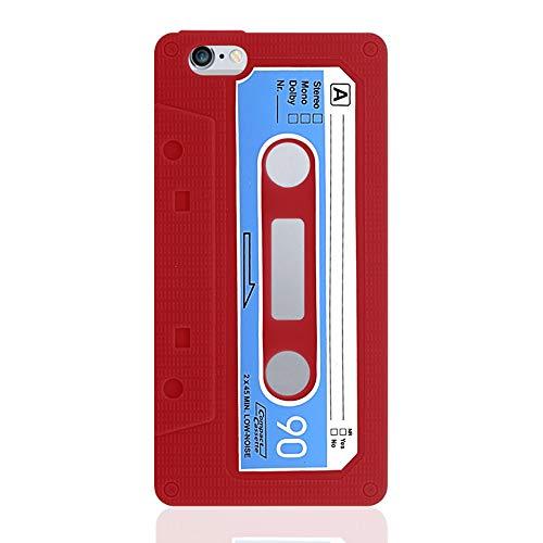 NewTop Cover Compatibile per iPhone 6 6S, Custodia Morbida TPU Cassetta Disegno Stile retrò Gel Silicone Posteriore (per iPhone 6-6S, Rosso)