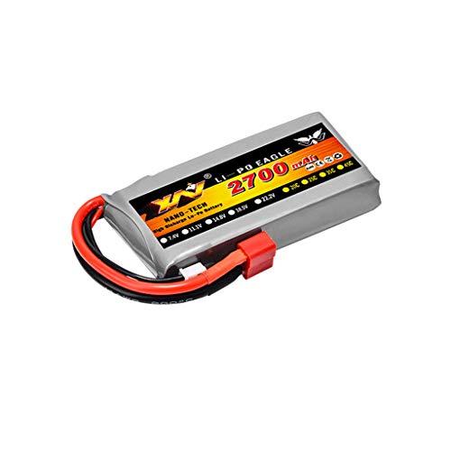 N / N Jasinto 7.4V 2700mAh 2S Upgrade Lipo Akku Batterie mit Stecker Kompatibel mit WLTOYS 12428 1/12 RC Car Truck LKW Buggy Crawler, Wiederaufladbarer RC Auto Batterien Ersatzakku Akkupack