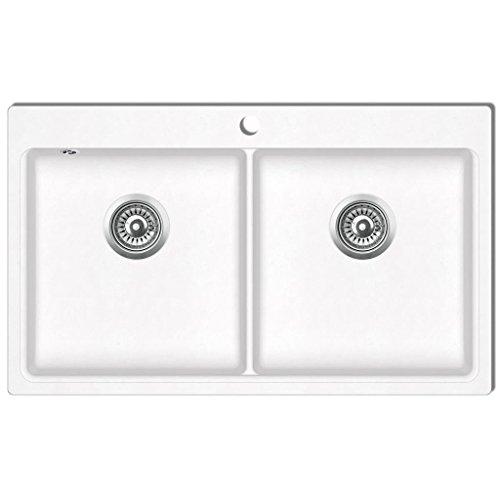 vidaXL Fregadero encastrable de granito blanco crema de dos cubetas lavabos baño