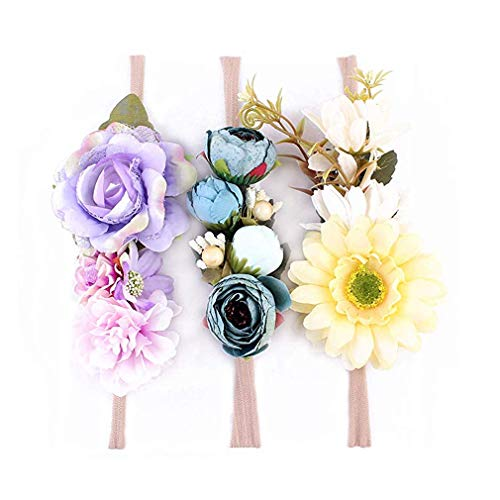 Ever Fairy Corona a Fiori con Corona Floreale Corona a Fiori con Corona Floreale Accessori per Neonati Accessori per Feste (3 Colors Pack - C)