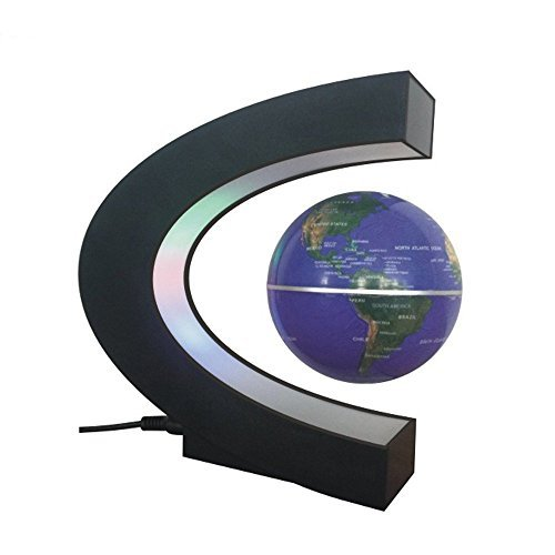 Bestland Schwimmende Globus Kugel mit LED-Leuchten C-Form-Magnetische Weltkarte Levitation Schwebender Globus rotierenden Magnetgeheimnis für lehrreich Geographic Zuhause Büro Dekoration Geschenk