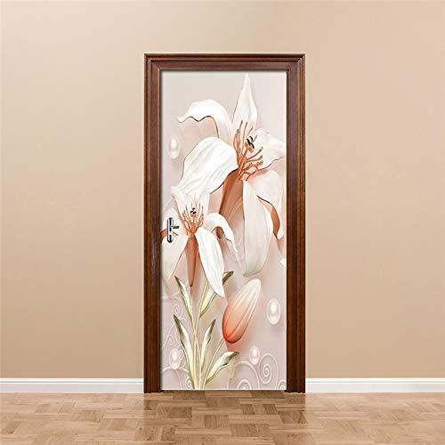 DFKJ Etiqueta engomada de la Puerta del Dormitorio de la Flor del Lirio en Relieve 3D decoración DIY Mural Autoadhesivo Cartel decoración de la Sala de Estar A1 77x200cm