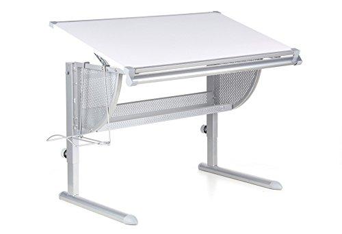 hjh OFFICE 705000 Kinder- und Jugendschreibtisch NENOS Weiß/Silber Schreibtisch höhenverstellbar & neigbar