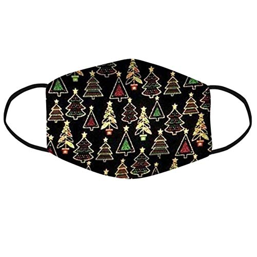 Christmas Print Reusable Face Covering Bandanas Washable Earloop Outdoor Dust Windproof for Women Men